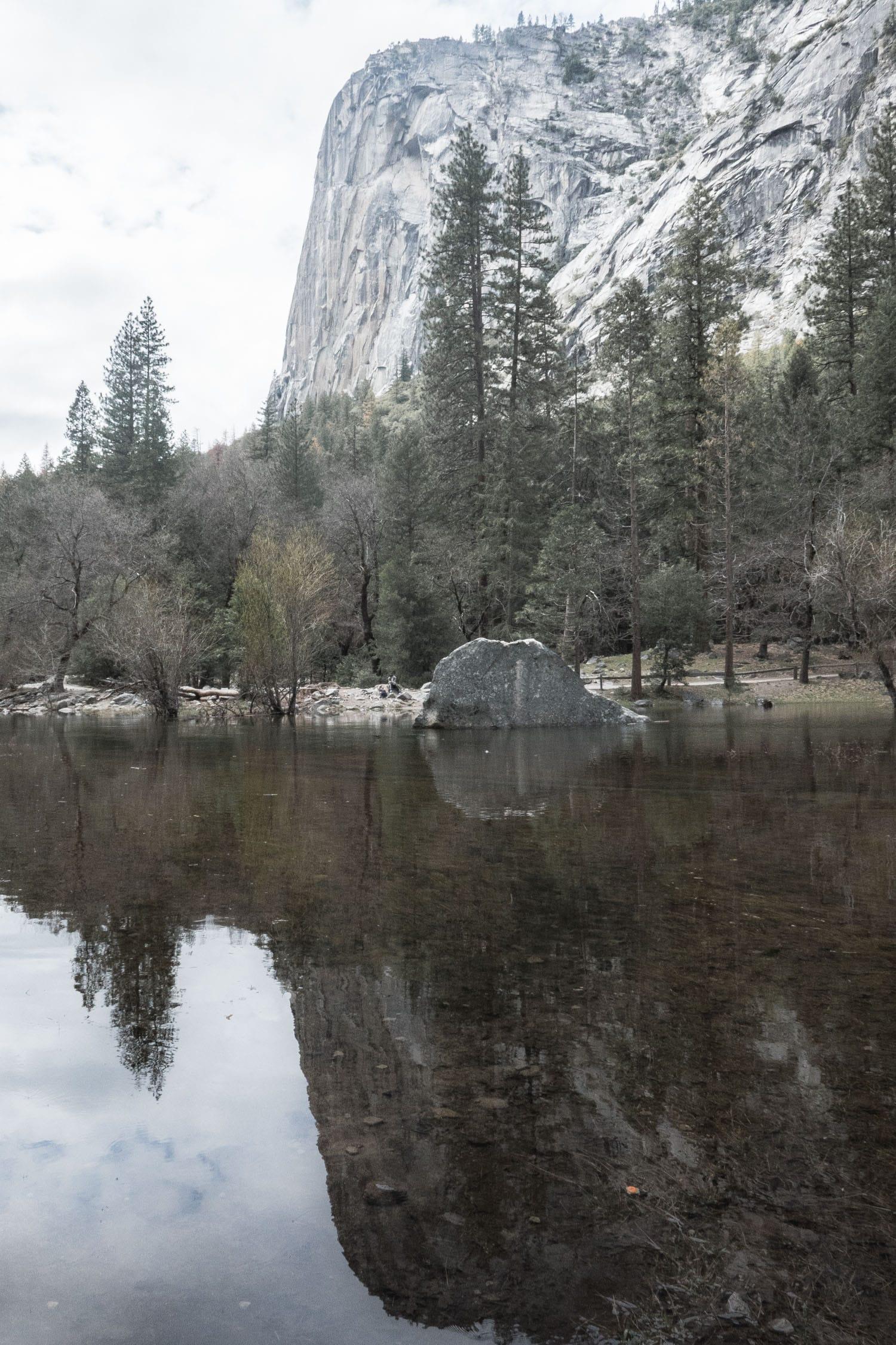 mirror lake, ansel adams, yosemite, californie, road trip