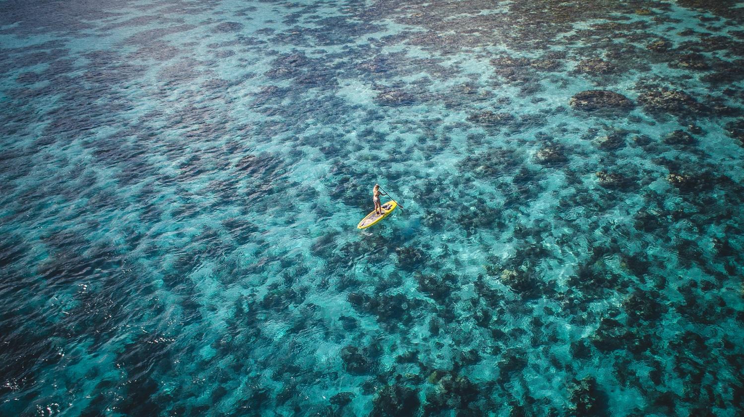 lagon, paddle, corail, drone, voyage a tahiti